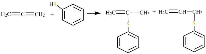 Електрофільне приєднання тіофенолу до алкену