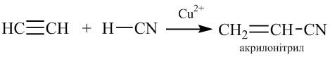 Одержання акрилонітрилу з ацетилену і ціанідної кислоти